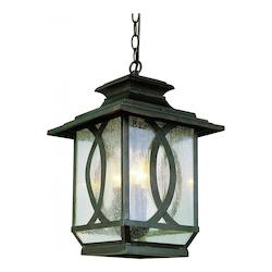 Three Light Burnished Rust Clear Seeded Glass Hanging Lantern