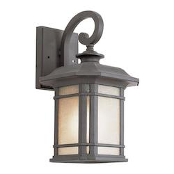 One Light Black Tea Stained Linen Glass Wall Lantern