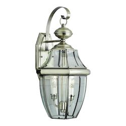 Two Light Brushed Nickel Clear Beveled Curved Glass Wall Lantern