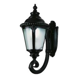 One Light Frosted Glass Black Wall Lantern