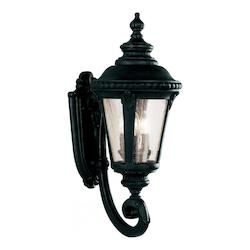 Three Light Black Clear Seeded Glass Wall Lantern