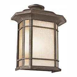 Two Light Rust Tea Stained Linen Glass Wall Lantern