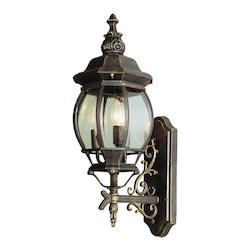 Three Light Black Copper Clear Beveled Glass Wall Lantern