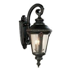 Three Light Black Copper Clear Seeded Glass Wall Lantern