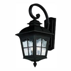 Three Light Black Clear Water  Glass Wall Lantern