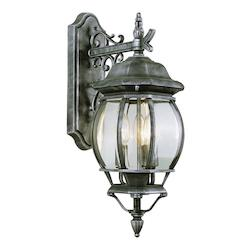 Three Light Rust Clear Beveled Glass Wall Lantern