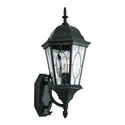 One Light Black Water Clear Oval Window Glass Wall Lantern