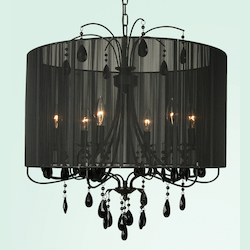 6 Light Black Frame & Shade Crystal Ceiling Fixture - Bethel ET112BLK