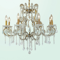 8 Light Gold Frame Clear Crystal Chandelier 1 Tier - Bethel ET07