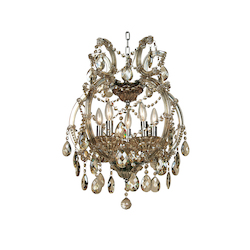 5 Light Clear Champagne Crystal And Iron Chrome Chandelier - Bethel 4307-5GT