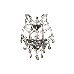 3 Light Smoky Color Crystal And Iron Chrome Chandelier - Bethel 4307-3SMK