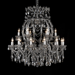 18 Light Smoky Crystal Chandelier - Bethel 4307XL-SMK