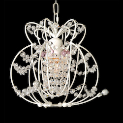 1 Light White Frame Clear & Pink Crystal Ceiling Fixture - Bethel ET303