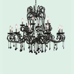 18 Light Black Crystal Black Frame Chandelier 2 Tier - Bethel ET07XBLK