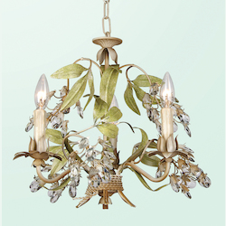 3 Light Green Leaf Clear Crystal Chandelier - Bethel FAL79-A6