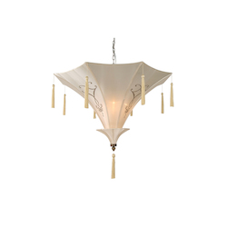 3 Light Plain Beige Fabric Shade Ceiling Fixture - Bethel GA66
