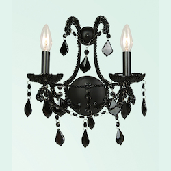 2 Light Black Crystal & Frame Wall Sconce - Bethel ET08BLK