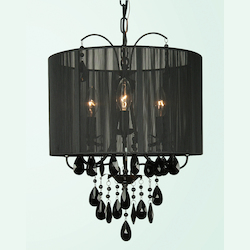 3 Light Black Frame & Shade Crystal Ceiling Fixture - Bethel ET111BLK