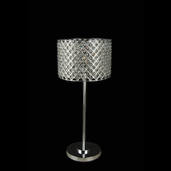 1 Light Silver Frame Clear Crystal Table Lamp - Bethel LD06