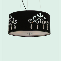 3 Light Black Shade Clear Crystal Ceiling Fixture - Bethel SM02