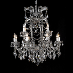 12 Light Smoky Color Crystal Chandelier - Bethel 4307L-SMK