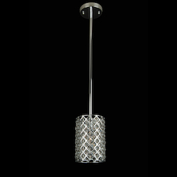 1 Light Silver Frme Clear Crystal Ceiling Fixture - Bethel LD04