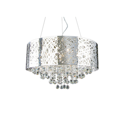 8 Light Chrome Shade Clear Crystal Ceiling Fixture - Bethel OL02