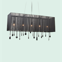 5 Light Rectangular Black Shade Ceiling Fixture - Bethel ET114BLK