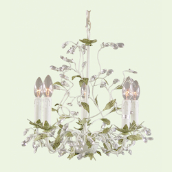 5 Light Green Leaf Clear Crystal Ceiling Fixture - Bethel RT25-A1