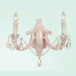 2 Light Clear Crystal Pnk Frme Wall Sconce - Bethel SU06