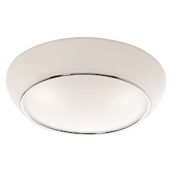 Three Light Chrome White Glass Bowl Flush Mount