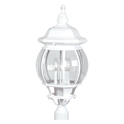 Four Light White Clear Glass Post Light