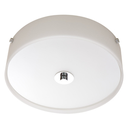 Two Light Chrome Satin Acid Glass Drum Shade Flush Mount