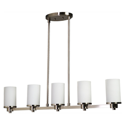 Five Light Polished Nickel Opal White Glass Candle Island Light