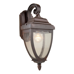 One Light Oil Rubbed Bronze Clear Seeded Glass Wall Lantern