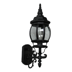 One Light Black Clear Glass Wall Lantern