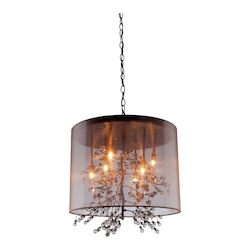 Eight Light Bronze Organza Shade Drum Shade Pendant