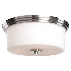 Two Light Polished Nickel Clean Opal White Glass Drum Shade Flush Moun