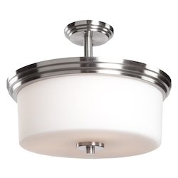 Three Light Polished Nickel Clean Opal White Glass Drum Shade Semi-Flu