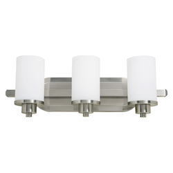 Three Light Polished Nickel Opal White Glass Vanity