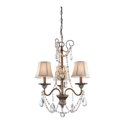 Three Light Multi-Tone Bronze Oatmeal Linen Shade Up Mini Chandelier