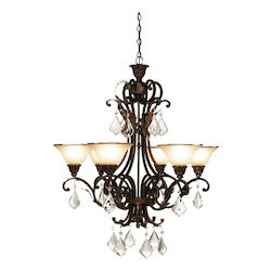 Six Light Bronze Carmelized Glass Up Chandelier