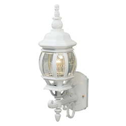 One Light White Clear Glass Wall Lantern