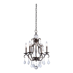 Four Light Dark Brown Up Mini Chandelier