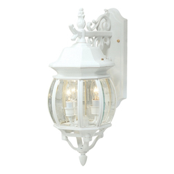 Three Light White Clear Glass Wall Lantern