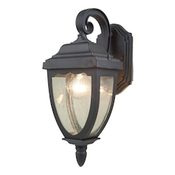 One Light Black Clear Seeded Glass Wall Lantern