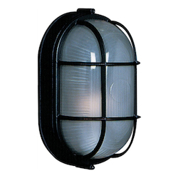 One Light Black Semi-Clear White Glass Marine Light