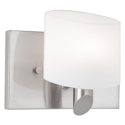 One Light Brushed Nickel Frosted White Glass Bathroom Sconce