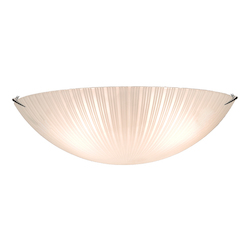 Three Light Chrome Striped Glass Bowl Flush Mount
