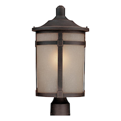 One Light Dark Bronze Soft Linen Glass Post Light